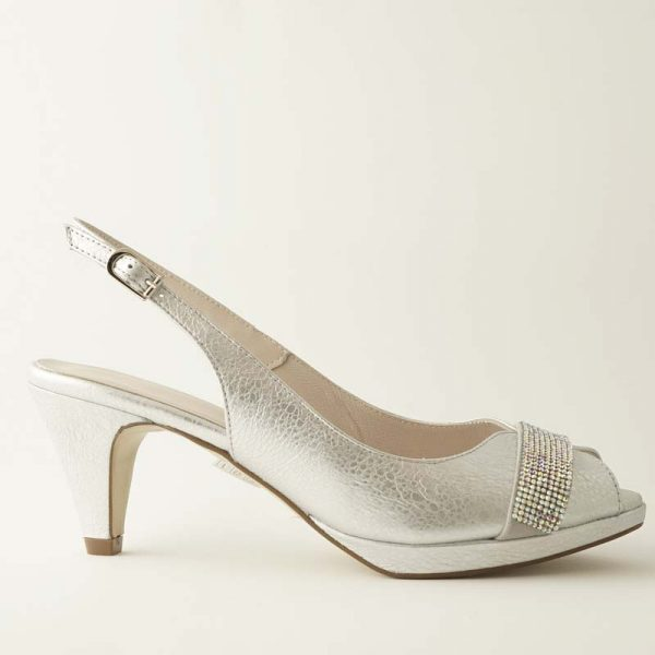Peeptoe cristales plata