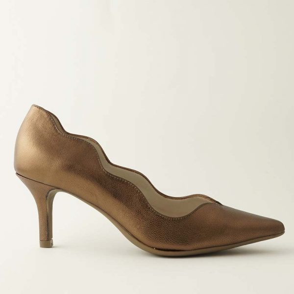 Stiletto ondas metal bronce