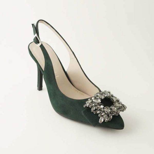Zapato joya verde musgo