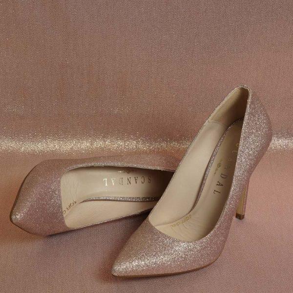 Stiletto glitter nude