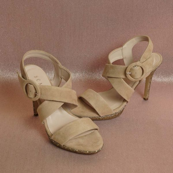 Sandalia glitter beige