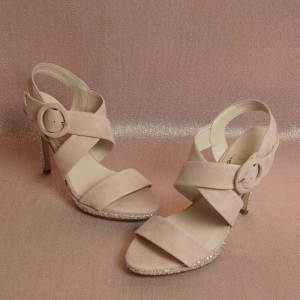 Sandalia glitter nude