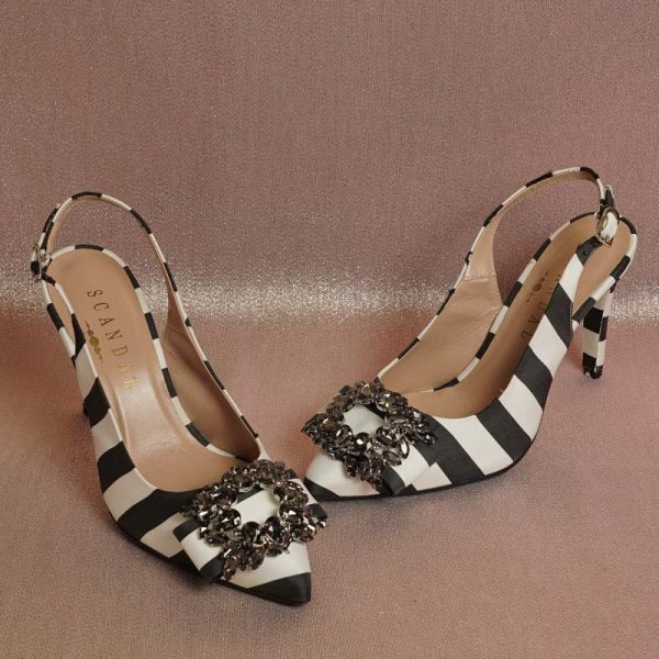 Zapato joya blanco negro